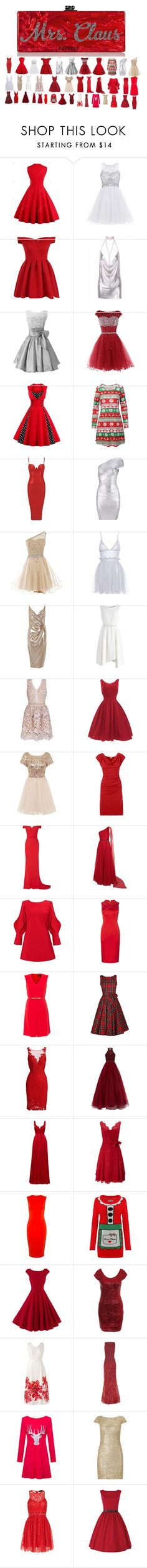 """mrs. claus dresses"" by abuffaloe on Polyvore featuring Edie Parker, Chi Chi, Alexander McQueen, River Island, Chicwish, Jovani, MaxMara, ML Monique Lhuillier, Halston Heritage and Phase Eight"