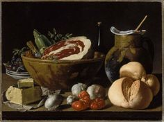 """Luis Meléndez's """"Still Life with Bread, Ham, Cheese, and Vegetables."""" Museum of Fine Arts, Boston."""
