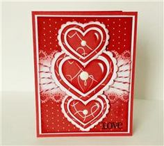Made this card for another Fantabulous Cricut Challenge...seeing red or pink and white.