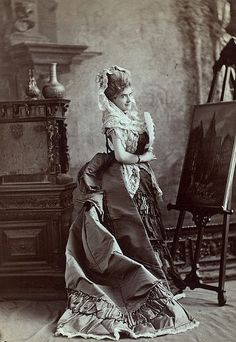 """The beautiful actress with the oddly masculine name is how I always think of Victorian stage star Jeffreys Lewis (who, for whatever reason, often dropped her first name, Mary, preferring to go by """"Jeffreys Lewis instead), pictured here in a strikingly gorgeous gown. #actresses #Victorian #19th_century #1800s #photograph #antique #vintage #woman #Jeffreys Lewis"""