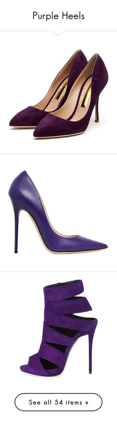 """Purple Heels"" by sakuragirl ❤ liked on Polyvore featuring shoes, pumps, heels, zapatos, sapatos, high heel shoes, heels & pumps, rupert sanderson pumps, suede pumps and rupert sanderson shoes"