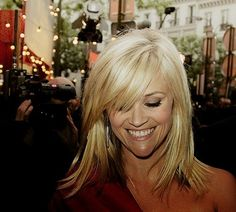 I think this is how I am going to cut my hair today!!          Reese Witherspoon- shoulder length hair and side swept bangs