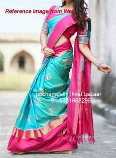 193636c577798 Blue color pochampally ikkath silk saree with pink and Zari Border – Devi  Handlooms – Handwoven Cotton and Silk Sarees