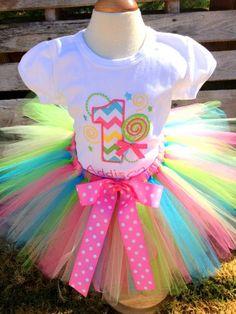 Girls Birthday Shirt AND Tutu, FREE Personalization, Lollipop Birthday, Candyland Party, Birthday, Pageant. $55.00, via Etsy.