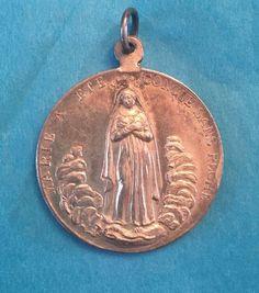 Sterling Silver VTG Religious Medal Virgin Mary Pendant    C110    eBay