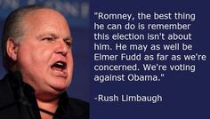 """Rush """"the drug addict with a GED"""" Limbaugh: Romney this election is not about you, you're Elmer Fudd.so this is how republicans vote! Trickle Down Economics, Fear Of Women, Elmer Fudd, German People, Rush Limbaugh, Liberal Politics, Big Words, Political Issues, Drugs"""