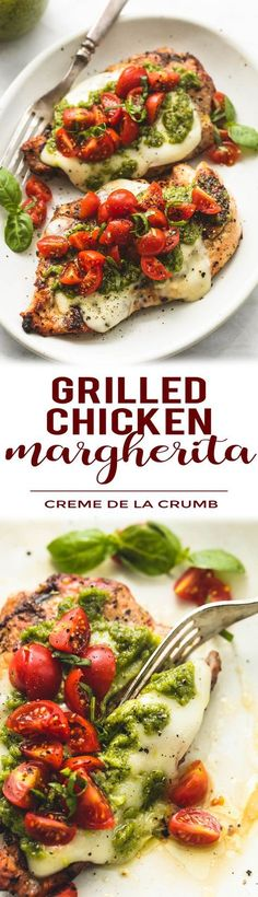 Easy, healthy grilled chicken margherita topped with melted mozzarella cheese, pesto, and tomato basil garnish. | lecremedelacrumb.com
