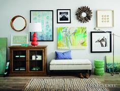 Have fun with wall hangings! Don't be afraid to mix and match frames, colours, and textures! #MyHomeSense // Amusez-vous avec les décorations murales! N'ayez pas peur de mélanger les formes, les couleurs et les textures! #MonHomeSense