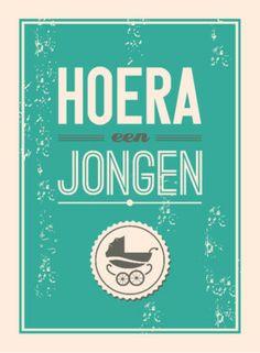 Hoera een jongen, met retro look   Greetz.nl #greetingcard