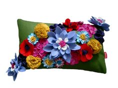 green backed flower cushion