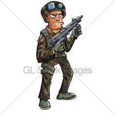 Cartoon Soldier With Machine Gun. Isolated On W...