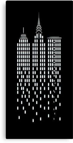 New York Cityscape Canvas Print. Graphic by Merakai. Black Canvas Paintings, Canvas Art, New York Cityscape, Wall Art Prints, Canvas Prints, Laser Art, Black And White Wall Art, Paper Artwork, Album Design