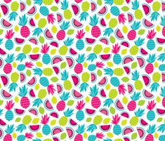 Tropical retro fruit paradise colorful  summer fabric by littlesmilemakers on Spoonflower - custom fabric