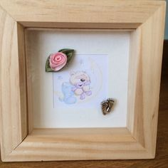 Cute little teddy print in box frame lovely by HomemadebyAnnMarie Christening Gifts, Box Frames, New Baby Gifts, Silver Color, Pink Flowers, New Baby Products, Cute, Etsy, Baptism Presents