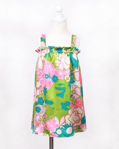 Silk blend pink, green & turquoise floral tank dress