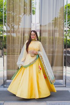 Twirling in my favorite yellow coloured mehendi lehenga. Pakistani Dresses, Indian Dresses, Indian Outfits, Ethnic Outfits, Indian Clothes, Indian Attire, Indian Ethnic Wear, Indian Mehendi, Indian Engagement Outfit