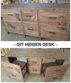 + Hide a desk anywhere ...