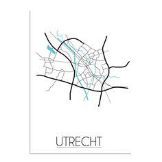 Een grafische poster van de plattegrond van UtrechtDe poster wordt geprint op 135/250 grams houtvrij gesatineerd papier dat afgewerkt is met glanslaminaat. Deze print is leverbaar in de volgende formaten: A4 - A3 - B2 - B1 - A2 - A1XS = A4: 21 cm bij 29,7 (250 grams papier)S = A3: 29,7 cm bij 42 cm