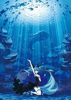 Miku, Water, Ocean, Animals, Vocaloid.
