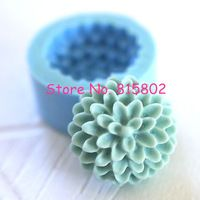 Freies Verschiffen HYL049U Blume/Pom Pom Chrysantheme/Dahlie Silikon Flexible Push-Handwerk, Schmuck, Charme (Lehm Fimo)
