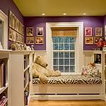 girl's rooms - yellow painted ceiling purple walls white built-in bed zebra bedding white built-in bookcases  Fun purple girl's bedroom design