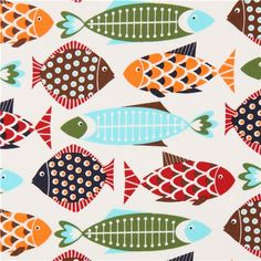 Timeless Treasures animal fabric with colorful fish Fish Patterns, Fabric Patterns, Print Patterns, Fabric Fish, Textile Pattern Design, Scandinavian Folk Art, Ceramic Fish, Fish Drawings, Hand Painted Canvas