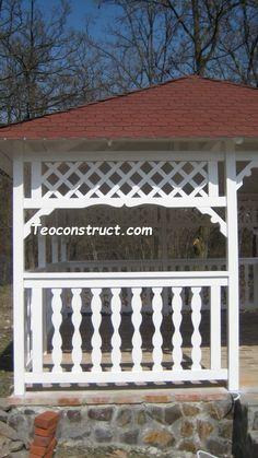 foisoare din lemn, sc home and garden design Srl Pergola With Roof, Outdoor Furniture, Outdoor Decor, Garden Design, Home And Garden, Outdoor Structures, Home Decor, Italia, Decoration Home