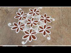 Vaigasi matham Vanna Kolam//Pandaga muggulu //easy rangoli//21 - YouTube Simple Rangoli Designs Images, Free Hand Rangoli Design, Small Rangoli Design, Rangoli Patterns, Rangoli Kolam Designs, Rangoli Ideas, Rangoli Designs With Dots, Kolam Rangoli, Rangoli With Dots