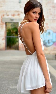 dress white dress backless dress spaghetti strap casual dress dinner dress white, lace, adorable, crop top, cute, love short party dresses