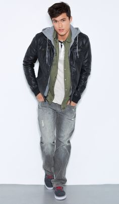 FAUX-LEATHER BOMBER + A87 FAVORITE HOODIE + WESTERN SHIRT  + ESSEX STRAIGHT LEG JEAN   - Aéropostale®
