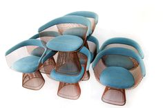 """c.1960's Rare Set of Eight Warren Platner Arm Chairs... or as I like to call it """"PAY DIRT""""!"""