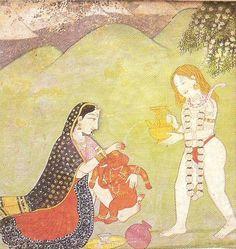 Shiva and Parvati giving a bath to Ganesha. Kangra miniature, 18th century. Allahbad Museum, New Delhi.