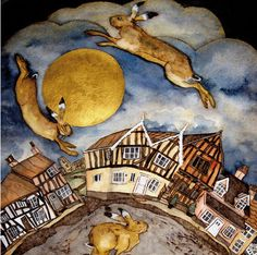 the crooked house hares Lavenham - collagraph handmade print with watercolour Crooked House, Collagraph, Rabbit Art, Square Card, Moon Art, Beautiful Creatures, Printmaking, Fantasy Art, Wildlife