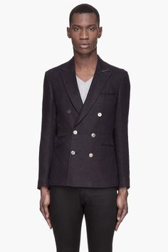 TIGER OF SWEDEN Deep navy double-breasted linen Nicko blazer - $385