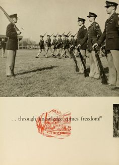 Army and Air Force ROTC Cadets practicing drill. Athena yearbook, 1952