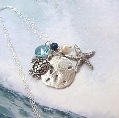 Sea Turtle Necklace, Sand Dollar Necklace, Starfish Necklace, Tropical Necklace, sterling silver, aqua, pearl, Swarovski, nautical