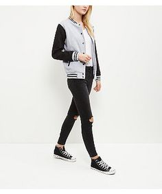 Parisian Grey Stripe Baseball Jacket   New Look Gestreept Jasje,  Schooloutfits, Grijze Strepen, 2e31e08a08e