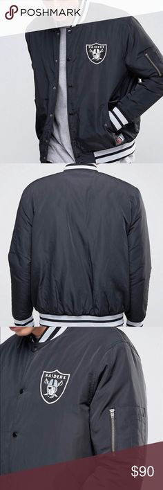 Raiders Bomber Jacket! Smooth woven fabric Baseball collar Visible logo Press-stud placket Side pockets Ribbed hem and cuffs ASOS Jackets & Coats Bomber & Varsity
