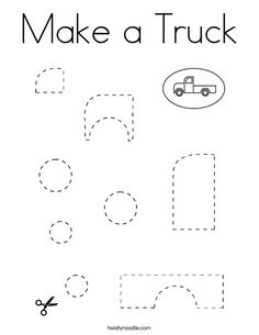 Make a Truck Coloring Page - Twisty Noodle Cutting Practice, Truck Coloring Pages, School Sports, Preschool Worksheets, Kids Prints, Motor Skills, Noodle, School Ideas, Transportation