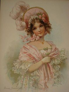 Lady in pink bonnet and shale