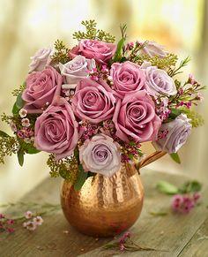 Copper Vase Rose Arrangement