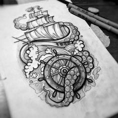Tattoo tattoo ideas tattoos, tattoo designs 및 tattoo drawings. Octopus Tattoo Sleeve, Octopus Tattoos, Arm Tattoo, Body Art Tattoos, New Tattoos, Sleeve Tattoos, Cool Tattoos, Nautical Tattoo Sleeve, Nautical Tattoos