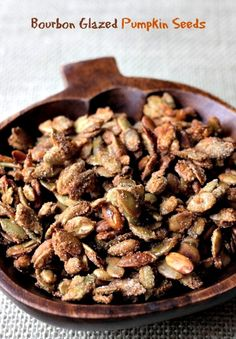 Pumpkin Seeds tossed in a sweet and spicy bourbon glaze.the perfect snack! Appetizer Recipes, Snack Recipes, Fall Appetizers, Bourbon Glaze, Pumpkin Seed Recipes, Cant Stop Eating, Salty Snacks, Cookbook Recipes, Sweet And Spicy