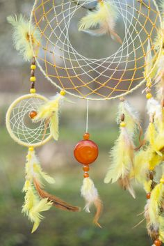 Large Dream catcher Yellow dream catcher Wall by MysteriousForests