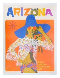 printables, classic posters, free download, graphic design, retro prints, skiing, sports, travel, travel posters, vintage, vintage posters, Amazin Arizona, America's Year Round Sun Adventure Land - Vintage Travel Poster