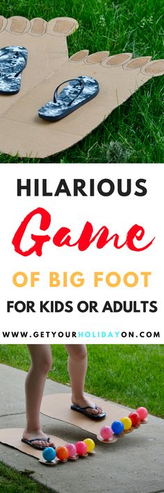 Hilarious & Funny Bigfoot Game for kids or adults! Play inside or outdoors, at a party, in the backyard, or at a carnival. kids party games How To Play Hilarious Bigfoot Game Kids or Adults Summer Party Games, Kids Birthday Party Games, Family Party Games, Family Games Indoor, Childrens Party Games, Indoor Party Games, Games To Play With Kids, Summer Camp Games, Birthday Party Games For Kids