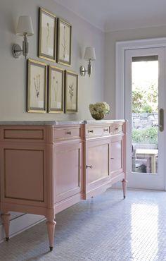 House Beautiful - Maison Luxe - louis cabinet - marble hex floor tiles - thomas o'brien longacre sconces