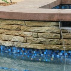 National Pool Tile Jules 1x1 Glass Series Pool Tile | Rustic Blue Blend |- tile for pool