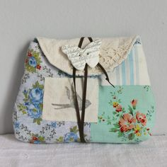 Pouch vintage fabric blue florals stripe by roxycreations on Etsy