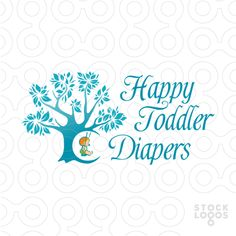A potential logo for a producer or seller of nappies (diapers) for little babies. It shows a toddler sitting on a tree-swing.